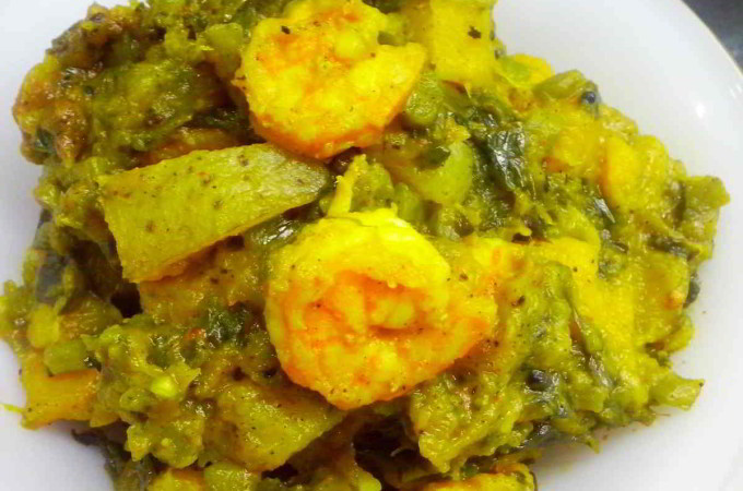 Pui Shak with Prawn – Pui Chingri or Pui Shak Chorchori