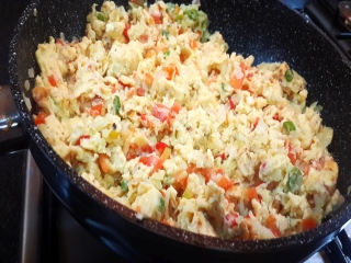 The Egg bhurji is just about ready!