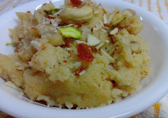Prasadam or Sooji ka Halwa with Banana